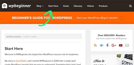 صفحهی «از اینجا آغاز کنید» برای وب سایت وردپرس