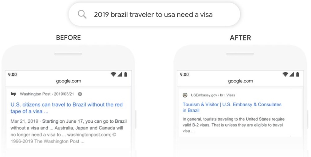 مقایسه گذشته و حال با الگوریتم گوگل bert
